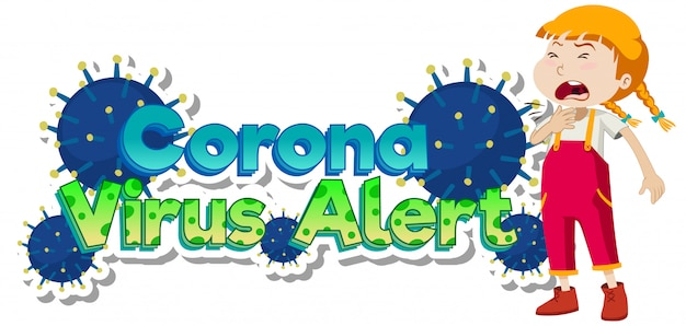 Plakatentwurf für coronavirus-thema mit krankem mädchenhusten