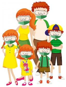 Plakatentwurf für coronavirus-thema mit tragender maske der familie