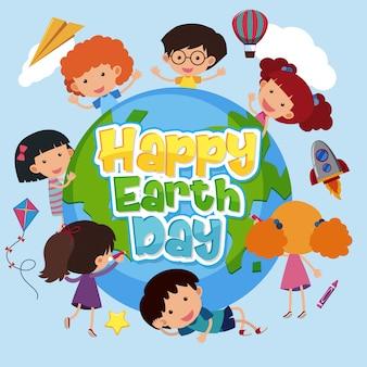 Plakatentwurf für glücklichen tag der erde mit glücklichen kindern auf erden