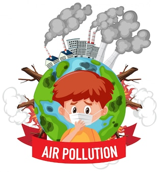 Plakatentwurf für stop verschmutzung mit jungen, der maske trägt