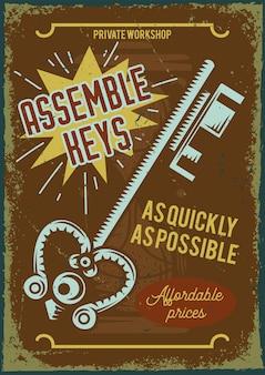 Plakatentwurf mit illustration des zusammenbaus der schlüssel