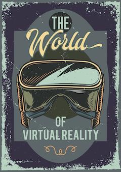 Plakatentwurf mit illustration einer vr brille