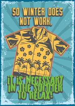 Plakatentwurf mit illustration eines hemdes auf weinlesehintergrund.