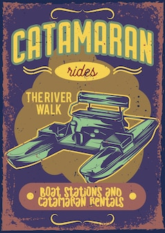 Plakatentwurf mit illustration eines katamarans