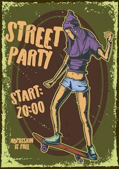 Plakatentwurf mit illustration eines mädchens auf einem skateboard
