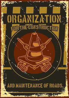 Plakatentwurf mit illustration eines straßenwarnzeichens