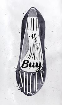 Plakatfrauenschuhe im retro- weinleseart-beschriftungsleben ist das kurze kaufschuhzeichnen