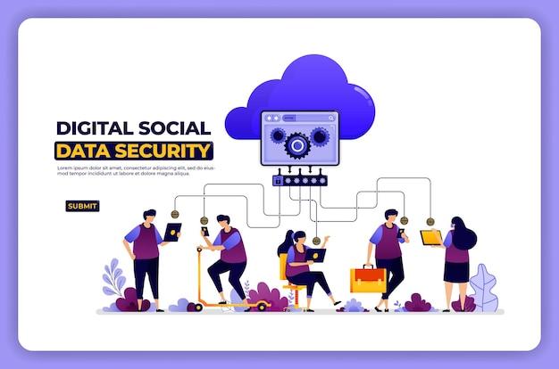 Plakatgestaltung der digitalen gemeinschaft und datensicherheit. sichere privatsphäre mit passwort.