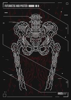 Plakatgestaltung menschlichen körper mit futuristischen hud-elementen. hologramm anatomie und skelett des menschen.