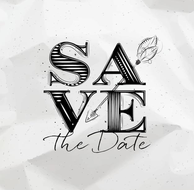 Plakathochzeitsbeschriftung speichern die datumszeichnung