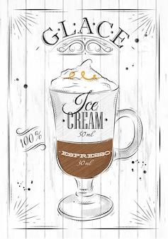 Plakatkaffee glace in der weinleseartzeichnung auf hölzernem hintergrund