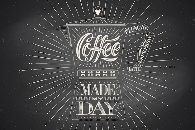 Plakatkaffeekanne moka mit hand gezeichneter beschriftung