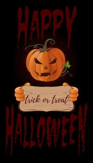 Plakatkonzeption für halloween. kürbislaterne mit einem ominösen grinsen. happy halloween-schriftzug. süßes oder saures. vektor-illustration