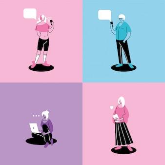 Plakatleute, die technologische geräte verwenden