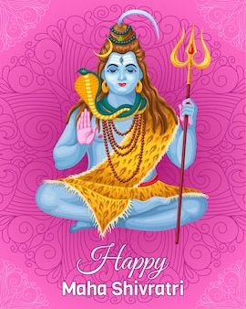 Plakatlord shiva. feiertag maha shivratri.