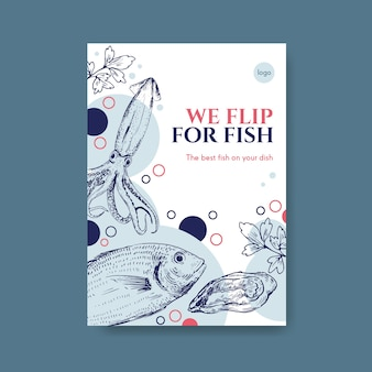 Plakatmenüschablone mit meeresfrüchtekonzeptentwurf für werbung und marketingillustration