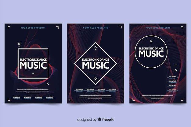 Plakatschablone der abstrakten welle der elektronischen musik