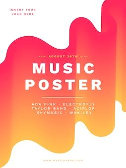 Plakatschablone der modernen musik mit vibrierenden farben