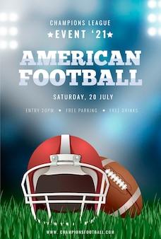 Plakatschablone des amerikanischen fußballs mit ball