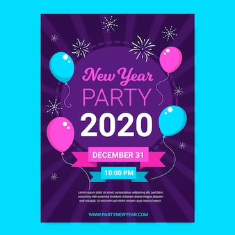 Plakatschablone des neuen jahres 2020
