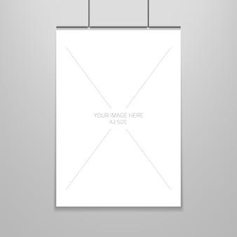 Plakatschablone eines blattes des leeren papiers im rahmen