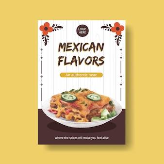 Plakatschablone mit aquarellillustration des konzeptdesigns der mexikanischen küche