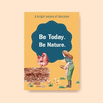 Plakatschablone mit aquarellillustration des landwirtschaftlichen organischen konzeptdesigns.