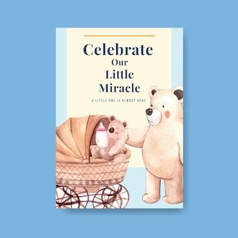 Plakatschablone mit babyparty-entwurfskonzept für werbung und vermarktung aquarellvektorillustration.