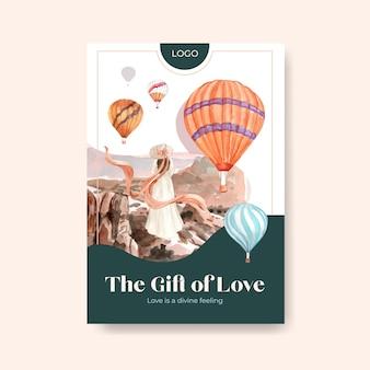 Plakatschablone mit ballonfest-konzeptentwurf für werbung und broschürenaquarellillustration
