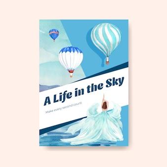 Plakatschablone mit ballonfiestakonzeptentwurf für werbung und broschürenaquarellvektorillustration