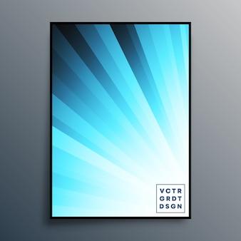 Plakatschablone mit blauen farbverlaufsstrahlen für hintergrund, tapete, flyer, plakat, broschürenumschlag, typografie oder andere druckprodukte. illustration
