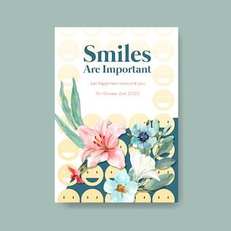 Plakatschablone mit blumenstraußentwurf für weltlächeltagkonzept zu den anzeigen und zur vermarktung der aquarellvektorillustration.
