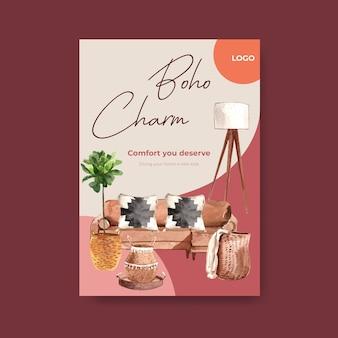 Plakatschablone mit boho möbelkonzeptentwurf für broschüre und vermarktung aquarellillustration