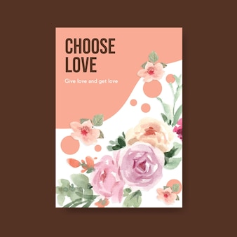 Plakatschablone mit dem blühenden konzeptentwurf der liebe für werbung und vermarktung der aquarellillustration