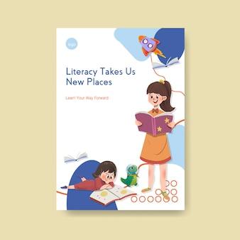 Plakatschablone mit dem konzeptentwurf des internationalen alphabetisierungstages für broschüren- und flugblattaquarell.