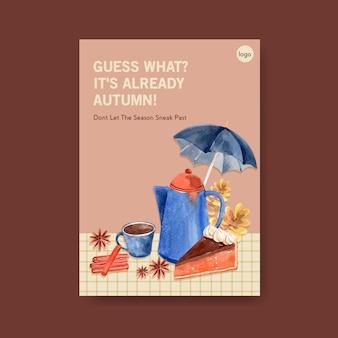 Plakatschablone mit dem täglichen konzeptentwurf des herbstes für broschüre und flugblattaquarell