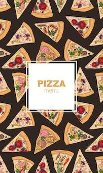 Plakatschablone mit den auf schwarzem hintergrund verstreuten pizzastücken