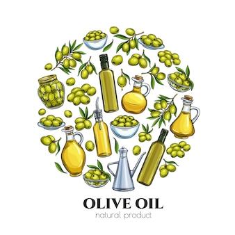 Plakatschablone mit handgezeichneter skizze oliven, äste, glasflasche, krug, metallspender und olivenöl für bauernmarktverpackungsdesign. illustration im retro-stil.