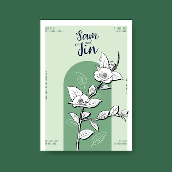 Plakatschablone mit hochzeitszeremonie für broschüre und faltblatt