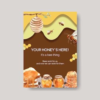 Plakatschablone mit honigkonzeptentwurf für marketing- und flugblattaquarellvektorillustration
