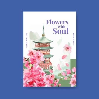 Plakatschablone mit kirschblütenkonzeptentwurf für werbung und vermarktung aquarellillustration