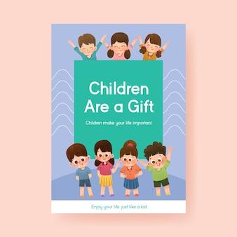 Plakatschablone mit konzeptentwurf des kindertages