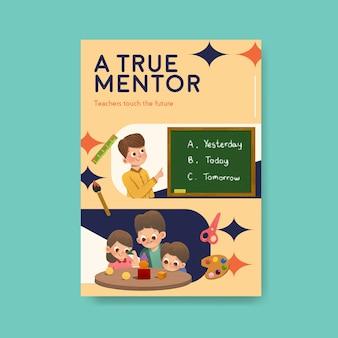 Plakatschablone mit konzeptentwurf des lehrertags für broschüre und faltblatt