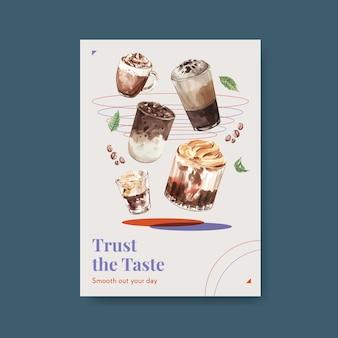 Plakatschablone mit koreanischem kaffeestilkonzept für werbung und vermarktung von aquarell