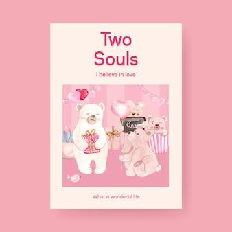 Plakatschablone mit liebevollem konzeptentwurf für werbung und broschürenaquarellillustration