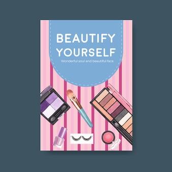 Plakatschablone mit make-up-konzeptentwurf für broschüre und flugblattaquarell.