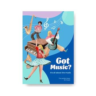 Plakatschablone mit musikfestival-konzeptentwurf für broschüre und vermarktung aquarellvektorillustration