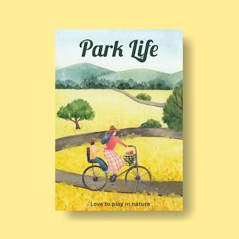 Plakatschablone mit park- und familienkonzeptentwurf für flugblatt- und broschürenaquarellillustration