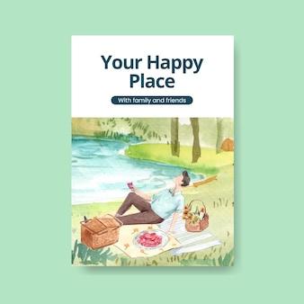 Plakatschablone mit picknickreisekonzept für die aquarellillustration werben