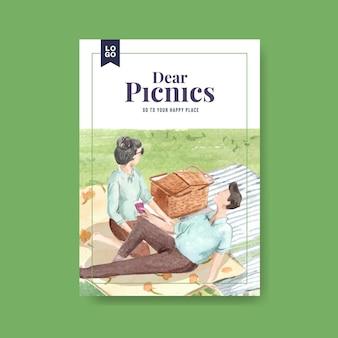 Plakatschablone mit picknickreisekonzept